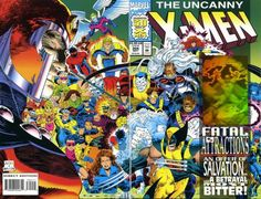 """Uncanny X-Men (Marvel Comics) - """"Fatal Attractions, Pt. 3 of """".For What I Have Done"""" cover: """"An Offer of Salvation . to X-Men no. 25 With Hologram card attached to cover. Captain America Civil War, Captain Marvel, Marvel Avengers, Marvel Comics, X Men, Comic Book Covers, Comic Books, Xmen Apocalypse, John Romita Jr"""