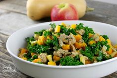 butternut squash and apple hash with sausage;