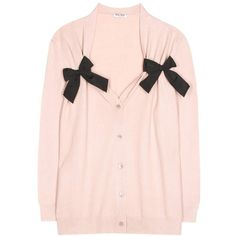 Miu Miu Virgin Wool Cardigan (10.868.635 IDR) ❤ liked on Polyvore featuring tops, cardigans, pink, miu miu, pink cardigan, light pink top, miu miu top and cardigan top