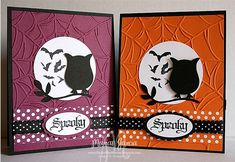 A Spooky Night Owl/Bat CARD by Studio M - Cards and Paper Crafts at Splitcoaststampers