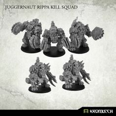 This bundle contains one Orc Juggernaut Rippa Squad (three models) and additional two Juggernauts with flamers (if you want dfferent proportions or rocket versions then let us know in the comment field during checkout).  These imposing miniatures stand about 50mm in height when assembled (not counting exhausts).  This set is 10% cheaper than separate models x5