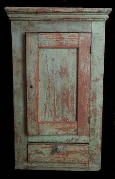 Just look at the simplistic beauty of this primitive cupboard! Primitive Cabinets, Primitive Furniture, Primitive Antiques, Country Primitive, Rustic Furniture, Antique Furniture, Timber Furniture, Modern Furniture, Wall Cupboards