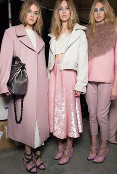Pretty in pink at the Topshop Unique AW13 show (Picture: Topshop)