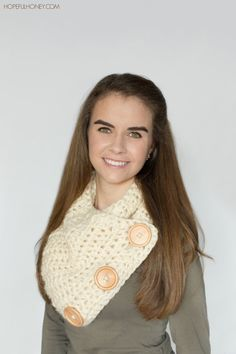 CROCHET PATTERN  Basic Chunky Button Scarf by HopefulHoneyDesigns