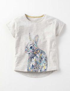 Grey Marl Bunny Sparkle Illustration T-shirt Boden