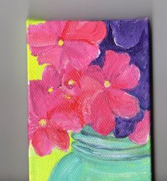 Pink and  Purple  Hydrangeas in Canning Jar  original  mini painting on Canvas with Easel. $22.00, via Etsy.