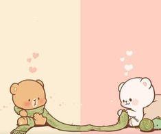 Cute Cartoon Images, Cute Couple Cartoon, Cute Love Cartoons, Cute Cartoon Wallpapers, Animes Wallpapers, Cute Love Wallpapers, Cute Bear Drawings, Kawaii Drawings, Bear Wallpaper