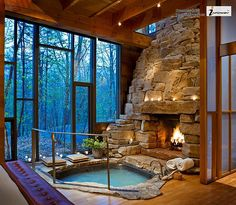 hot tub with fireplace and view | Jon Cooper, Infoway-Web Development Company via flickr.com