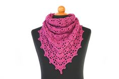 Crochet simple and elegant Lace style Triangle scarf in solid color. It is made with 100% soft Acrylic yarn. It had a beautiful lace design, very soft and light. Scarf style is trianglewhich can be styled as you want. It is perfect for gift to your loved one.  Infinity scarf's measurement:  Height, while laying flat, from center ba
