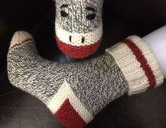Ravelry: Sock Monkey Work Socks pattern by Joan Janes Loom Knitting, Knitting Socks, Knitting Patterns Free, Hand Knitting, Stitch Patterns, Crochet Sock Monkeys, Crochet Socks, Knitted Slippers, Socks