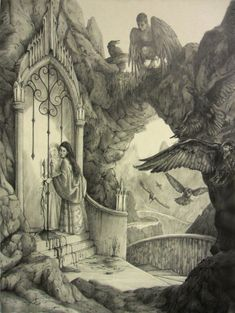 The Seven Ravens by AndrewRyanArt on deviantart.com. Scene from the Brother's Grimm fairy tale, The Seven Ravens, that depicts the moment when the younger sister cuts off her finger and uses it as a key to open the door to the glass mountain