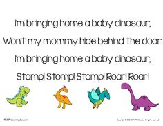 "Dinosaur Egg Craftivity & Song from Learning Ahoy on TeachersNotebook.com - (5 pages) - Dinosaur Egg Craftivity & Song This is the perfect addition to any dinosaur unit in preschool or kindergarten. Students learn a song about bring home a baby dinosaur. The song is sung to the tune of ""I'm bringing home a baby bumble bee&amp"