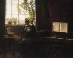 A Young Lady Sewing Beside a Piano - Carl Vilhelm Holsøe - The Athenaeum