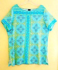 Rafaella Stripe Floral Knit top XL Turquoise/Multi Short Sleeve Scoop Neck #Rafaella #KnitTop #Casual