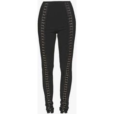 High-waisted hook and eye stretch-knit leggings | Women's knit pants |... ($1,670) ❤ liked on Polyvore featuring pants, leggings, high-rise leggings, balmain, highwaist pants, high waisted legging pants and stretch knit pants