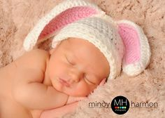 Crochet Bunny Ear Beanie Hat great photo prop by Made4UByWendyLou, $12.99