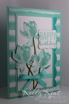 Stampin' Up! ... handmade birthday card ... monochromatic aquas ... great design ... trio of triple stamped lotus flowers ...