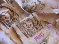 Distressed Tea dyedParis Glamorous French Girl by ThePeonyShanty, $4.85