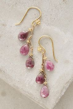 """Petaluma Drops - anthropologie.com $69 ($138) DETAILS Firey ruby zoisite danglers from northern California dreamer and designer Robindira Unsworth. 22k gold vermeil, ruby zoisite. Style No. 38237764. Dimensions 1.5""""L, less than 0.25""""W"""