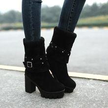 Mellisa recién llegado del invierno negro Beige Flock leather slip on mujeres dulce botas tamaño grande redondo del dedo del pie tacones cuadrados media pantorrilla zapatos(China (Mainland))