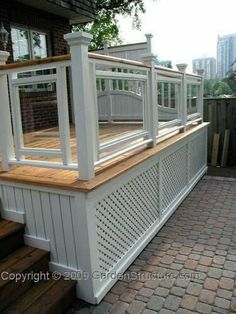 A formal deck plan originally built in Toronto and featured in Canadian House and Home. Unique privacy screens set this deck design apart! Deck Building Plans, Building A Porch, Deck Plans, Pergola Plans, Pergola Ideas, Porch Ideas, Cool Deck, Diy Deck, Pergola Designs