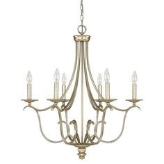 The Cecil collection from House of Hampton features regal, traditional styled Candle Chandelier and foyer lighting in a Winter Gold finish. Sumptuous curves and scrolling lines create a majestic look to adorn your room or entryway. The Candle Chandelier is UL Listed (rated for dry locations) and uses 6-60 Watt Candelabra bulbs. Comes with 10' of chain and 15' of wire. It's the perfect decorative lighting for your Kitchen, Dining, Living Room, Foyer, Bath or Powder Room.