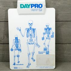 Pharmaceutical Medical Advertising Clipboard Skeletons Daypro 1990s