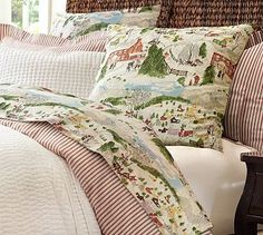 Winter Village Sheet Set #potterybarn. So pretty, and I could have sheets to match my friendly village dishes. So imagine being in bed and sipping from my pretty china? Right who has time for that? At least on pinterest I can dream!!