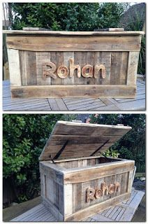Personalized Toy Chest Made From Pallets - #pallets #diy & DIY Blanket Storage Chest | Blanket storage Coffee table bench and ...