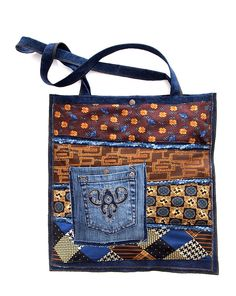 Extra bag -  Denim bag with upcycled neck ties in the front. With higher internal and lower external pocket. Dimensions approximately 39 x 40 cm. The length of the handle 68 cm. One and only.  37.00 €, Worldwide delivery!