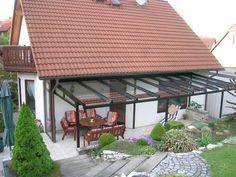 TerraSmart Terrassenüberdachung Classic-Line - Terrassendach braun mit 3 Stützen und Seitenteil