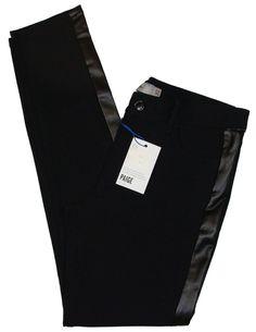 Paige Denim Womens Pants Skinny Ponte Knit Tuxedo Stripe Leg Black 30 NEW $279 #PaigeDenim #CasualPants
