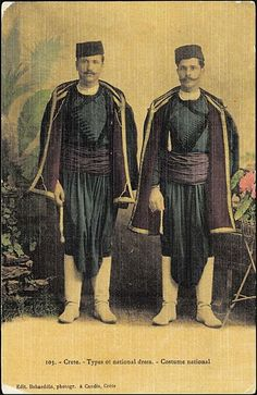 Traditional (Greek) costume from Crete. Late-Ottoman era, end of century. (Crete was a part of the Ottoman Empire until Ancient Greek Dress, Ancient Greek Clothing, Greek Traditional Dress, Traditional Outfits, Crete Island Greece, Greek Pattern, Greek Culture, Medieval Fashion, Folk Costume