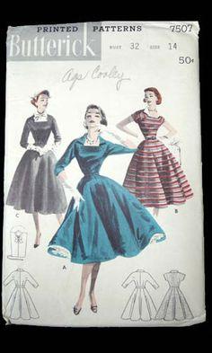 pattern 1950 s vintage sewing pattern butterick 7507 full skirted 50 s Vintage Dress Patterns, Vintage Dresses, Vintage Outfits, Vintage Clothing, 1950s Outfits, 1950s Dresses, Clothes Patterns, Moda Vintage, Vintage Vogue
