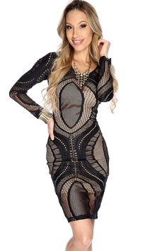 Get+a+look+thatll+put+you+in+the+spotlight+featuring;+netted+overlay+detail,+round+neckline,+long+sleeves,+and+bodycon+fitted.+95%+Polyester+5%+Spandex.Made+in+USA.