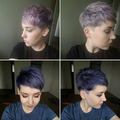 No filter. Top is today, bottom is the day it was done. 10 days and still going strong! #lavenderhair #purplehair #pastelpixie #fadingcolor #ifinallywashedittoday #pixiecut