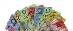 A fan of Australian money banknotes, showing all denominations. On a white background. Copyspace.