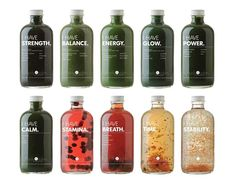 """Body and Eden tonics and elixirs come with a fitting tagline """"nourish yourself"""", reflecting the blend of organic produce and herbal infusions in these drinks. Consumers can choose a tonic dependent on how they want to feel after consumption thanks to bold type and clear language."""