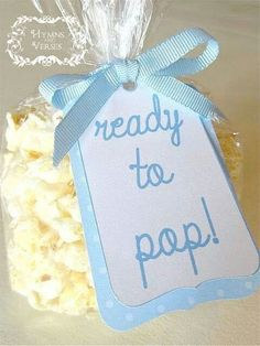favor idea but put pink or blue chocolate covered popcorn in bag--cuter tag