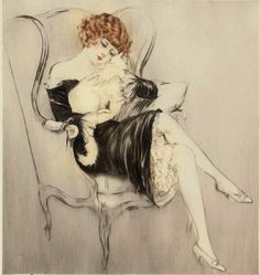 Sleeping cat, 1922 - Louis Icart