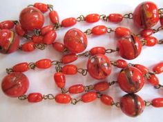 ART-DECO-VINTAGE-VENETIAN-MURANO-RARE-LUSTRE-RED-LAMPWORK-GLASS-BEADS-NECKLACE