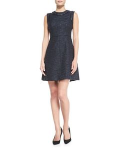 Add a Peter Pan collar to Phoebe??  Abbie Lacquered Tweed Dress by Shoshanna at Neiman Marcus.