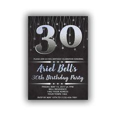 Items similar to Silver Happy Birthday Invitations Chalkboard black Cards 5 x 7 inch Milestone birthday Eat drink be forty Cheers to 40 on Etsy 50th Party, 40th Birthday Parties, Birthday Celebration, Happy Birthday Signs, 55th Birthday, Diy Banner, Year Quotes, Online Print Shop, Milestone Birthdays