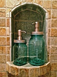 2 Vintage Blue Mason Jar Soap Lotion Dispensers, Vintage Ball Mason Jar Soap Dispensers. $40.00, via Etsy.