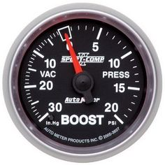 Auto Meter 3607 Sport-Comp II 2-1/16 30 in. Hg/20 PSI Mechanical Vacuum/Boost Gauge, Model: 3607, Car & Vehicle Accessories / Parts. Features Hi-Def(TM) through-the-dial white LED lighting. Includes 10 ft. Nylon tubing. Includes T-Fitting. Includes gauge mounting hardware and installation instructions.