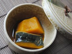 Simmered Kabocha Recipe Ingredients: 1 1/2lbs Kabocha (pumpkin) - pictured above 1 1/2 cup dashi - you can make it from scratch with bonito flakes but I like to use 1/2 cup Yamaki Mentsuyu (pictured above) with 1 cup water. If you really wanted to, you could replace the dashi with chicken broth. 3 T Mirin (rice wine) 1-2 T Sugar 1/2 tsp Salt 1/2 T Soy Sauce