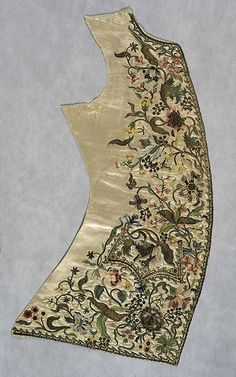 English Silk satin embroidered in silk, silver gilt thread (purl, filé and frisé) and gilt spangles Centimetres: 94 (length), 49 (width) ...
