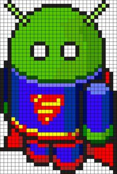 Bugdroid Superman Perler Bead Pattern / Bead Sprite
