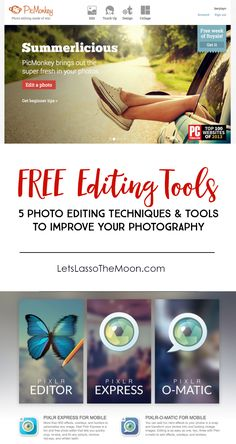 5 Photo Editing Tools and Techniques *Great list of EASY tips. I love PicMonkey and this tutorial, but it is cool to know there are other free alternatives too.