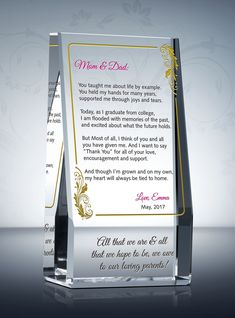 Sleek and self-supporting, the Graduation Thank You Gift Plaque lets the graduate honor the people in his or her life. Say thank you to your parents, grandparents, or spouse with this beautifully and personalized Graduation Thank You Gift.  #graduation #gift #appreciation #diy #diywards #graduationgift #crystalplaque #crystal #award #graduate #congratulations